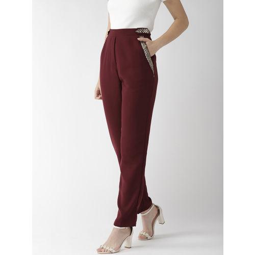 QUIERO Women Maroon Regular Fit Embellished Cigarette Trousers