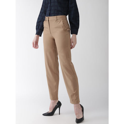 Marks & Spencer Women Beige Relaxed Straight Fit Solid Regular Trousers