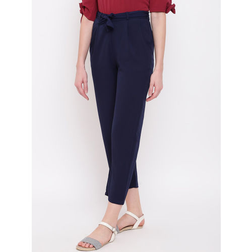 Mayra Women Navy Blue Regular Fit Solid Peg Trousers