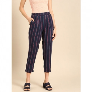 DressBerry Women Navy Blue & Red Regular Fit Striped Trousers