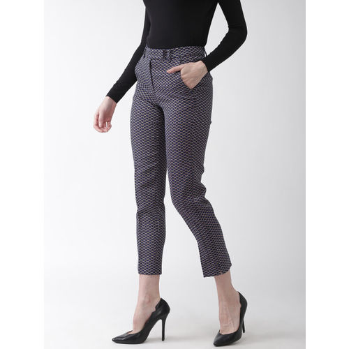 Marks & Spencer Women Navy Blue & Off-White Slim Fit Self Design Cigarette Trousers