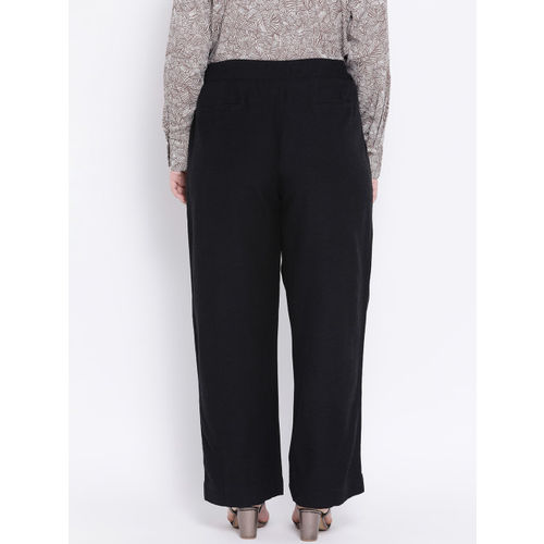 Oxolloxo Women Black Regular Fit Solid Parallel Trousers