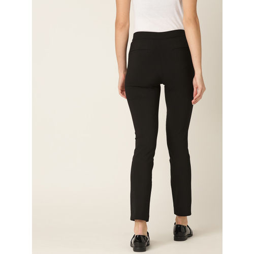 MANGO Women Black Solid Cropped Regular Trousers