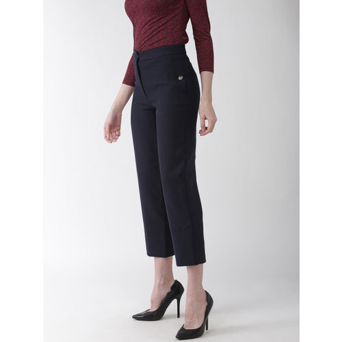Marks & Spencer Women Navy Blue The Evie Straight Fit Solid Cropped Formal Trousers