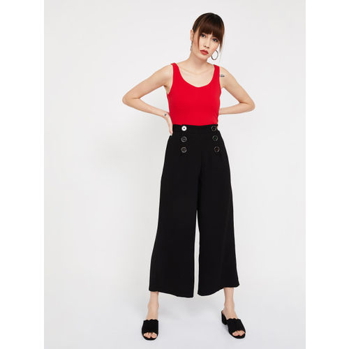 CODE by Lifestyle Women Black Solid Regular Fit Culottes