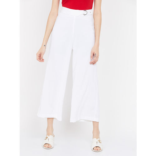 CODE by Lifestyle Women White Solid Regular Fit Culottes