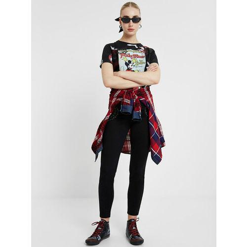 Desigual Women Black Skinny Fit Printed Regular Trousers