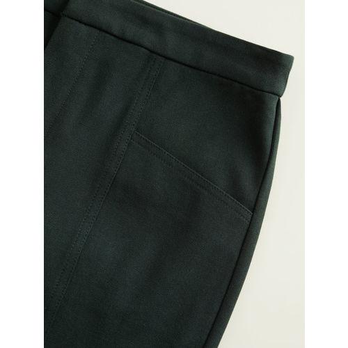 MANGO Women Green Regular Fit Solid Regular Trousers