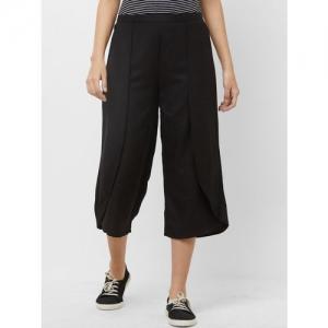 109F Women Black Regular Fit Solid Culottes