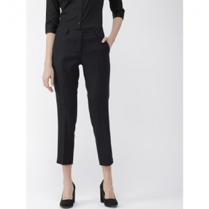 Park Avenue Women Tapered Fit Fit Navy Blue Solid Formal Trousers