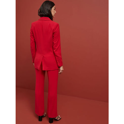 next Women Red Regular Fit Solid Bootcut Trousers