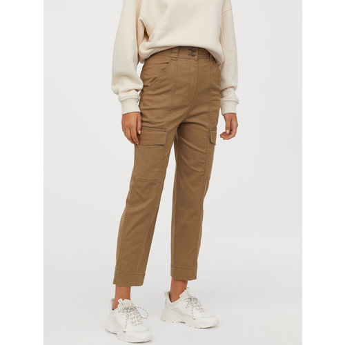 H&M Women Brown Cotton Twill Cargo Trousers