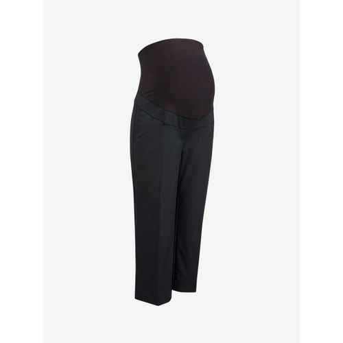 next Women Black Maternity Solid Cropped Regular Trousers