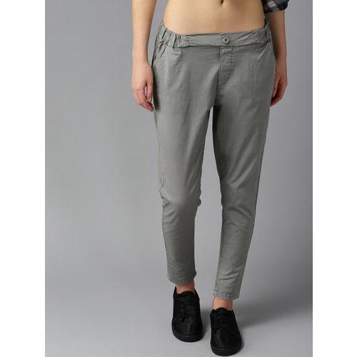 Roadster Women Grey Regular Fit Solid Regular Trousers