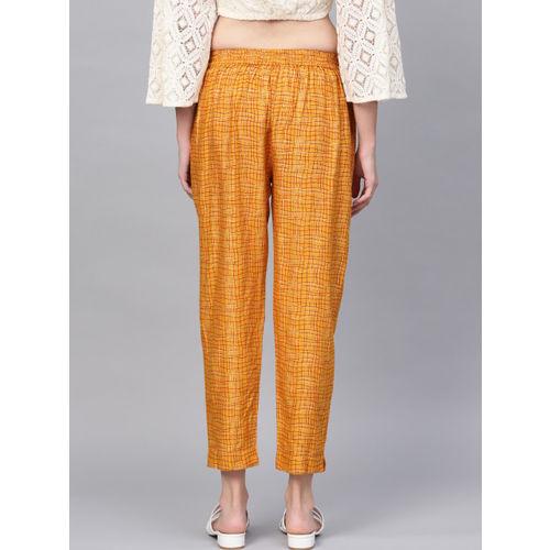Juniper Women Mustard Yellow & Red Smart Slim Fit Checked Cigarette Trousers
