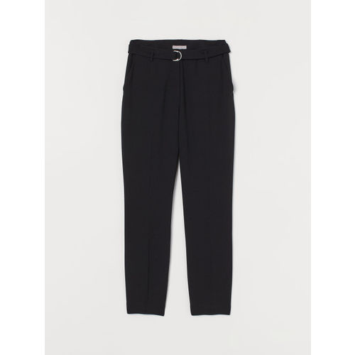 H&M Women Black Solid Ankle-Length Trousers