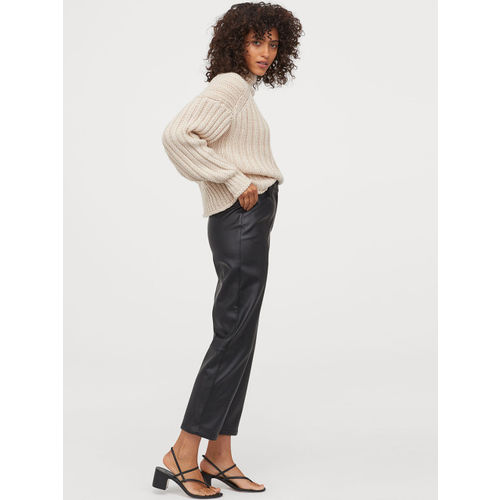 H&M Women Solid Imitation Leather Trousers