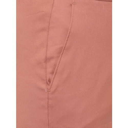 Van Heusen Woman Peach-Coloured Regular Fit Solid Cropped Trousers