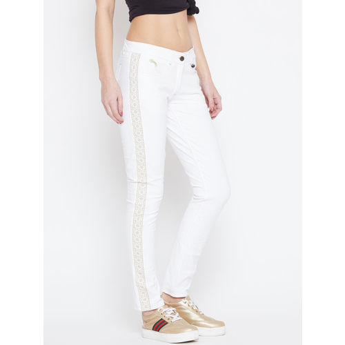 JUMP USA Women White Skinny Fit Solid Regular Trousers With Lace Detail