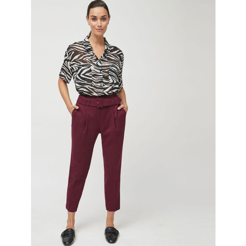 next Women Maroon Regular Fit Solid Peg Trousers