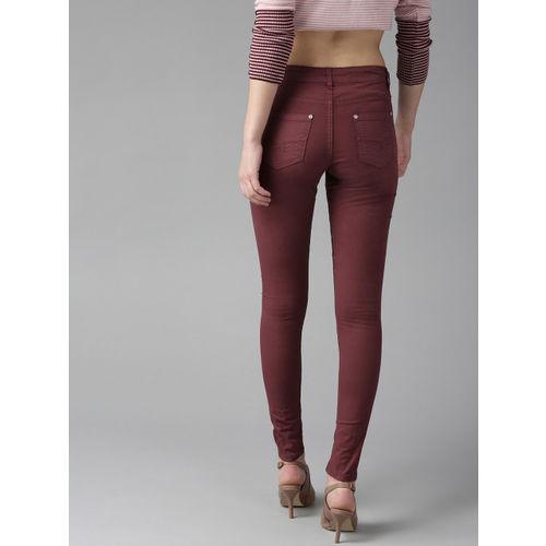 Roadster Women Maroon Regular Fit Solid Trousers
