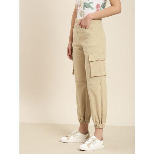 Moda Rapido Women Beige Regular Fit Solid Cargos