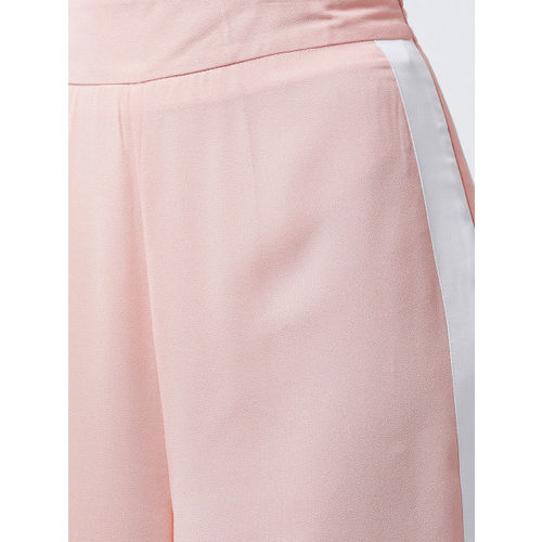 MAGRE Women Peach-Coloured Loose Fit Solid Parallel Trousers