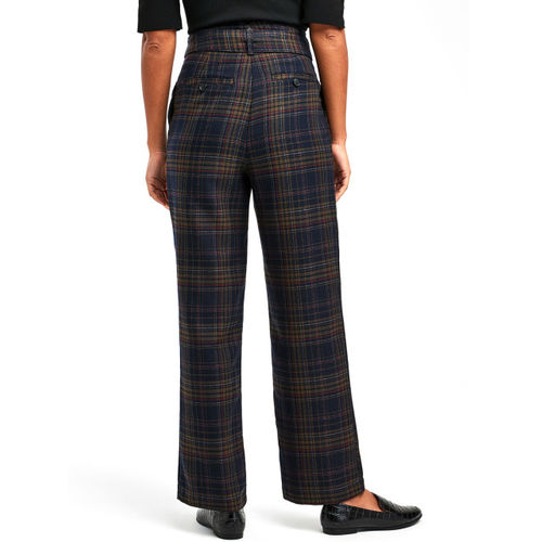 next Women Navy Blue & Red Regular Fit Checked Regular Trousers