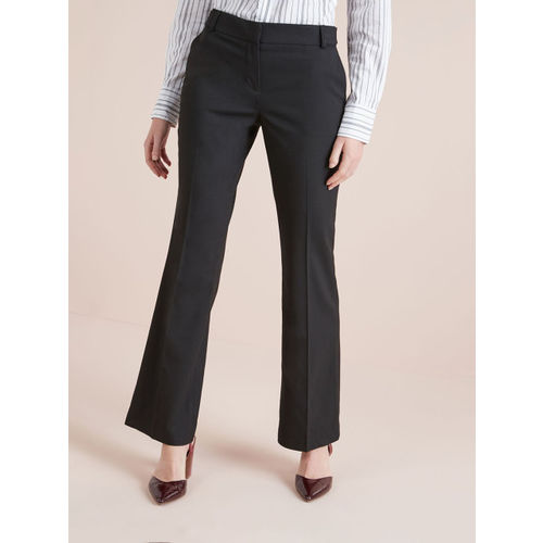next Women Black Solid Regular Fit Bootcut Trousers