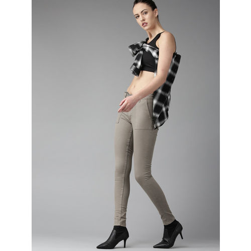 Roadster Women Grey Regular Fit Solid Trousers
