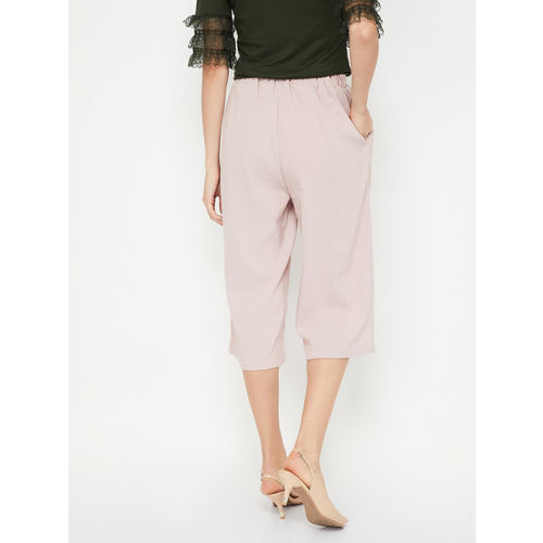 Ginger by Lifestyle Women Pink Regular Fit Solid Culottes
