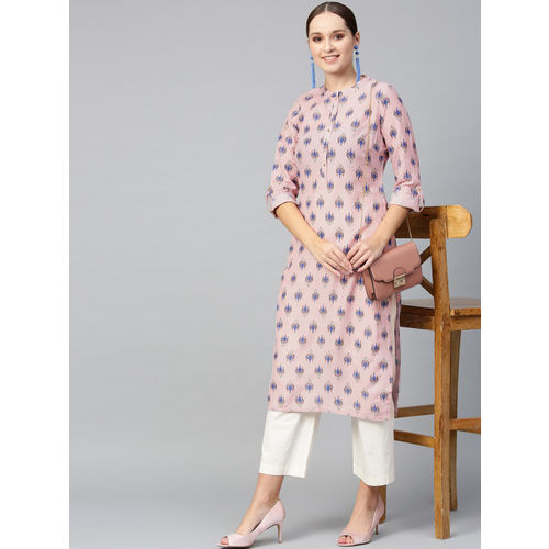 W Women Pink & Blue Printed Straight Kurta