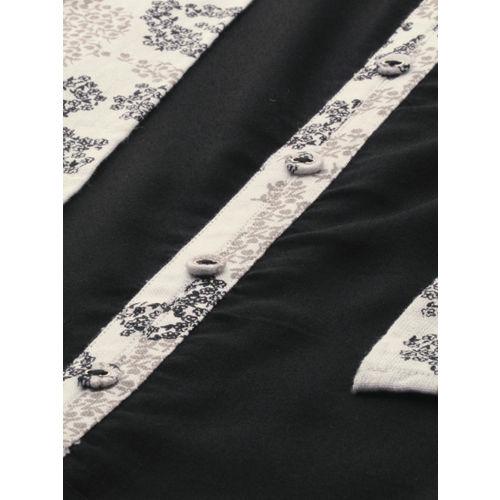 IMARA Women Black & White Solid Straight Layered Kurta