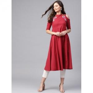 SASSAFRAS Red  Cotton Solid Cold-Shoulder Anarkali Kurta