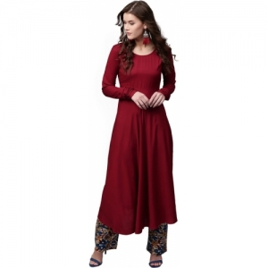 Aks Maroon Cotton Rayon Solid Flared Kurta
