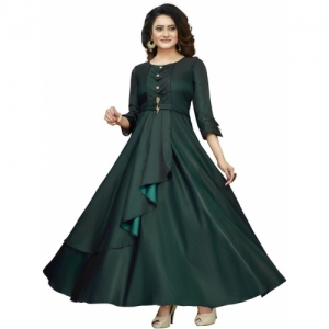 Mert India Green Satin Blend Women Solid Anarkali Kurta