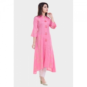 Printed Pink Cotton High Low Kurta