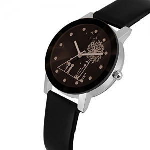 Bhakti Fashion Shunya Crystal Glass Analogue Black  Watch