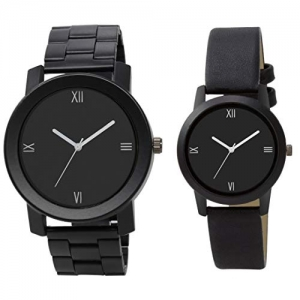 Stylish Analogue Black with Leather Strap And Stainless Steel Belt Couple Watch Combo