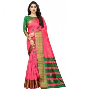 SATYAM WEAVES  Banarasi Pink And Green Cotton Silk Saree