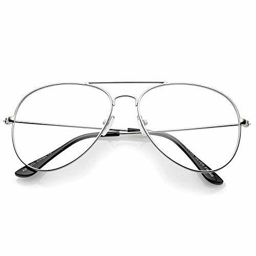 HIPPON Silver Frame UV Protected Aviator Sunglasses for Men & Women (Clear/Transparent)