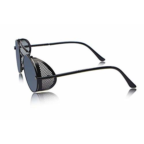 elegante Branded Side Shield Steampunk Full Black Unisex Round Sunglass