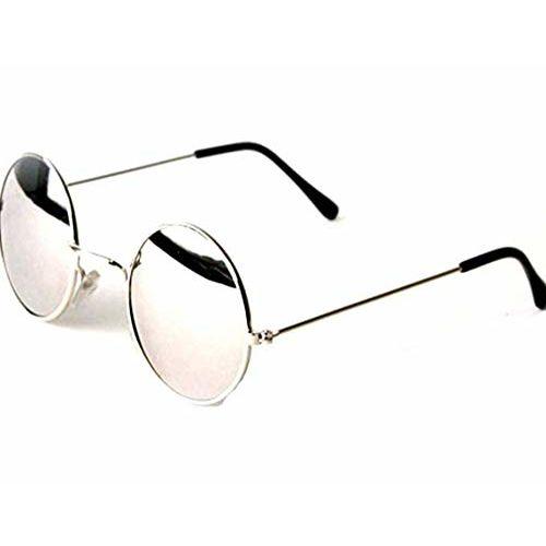 ETRG Round Metal Body Unisex Sunglasses (LR24-BSLV, Blue/Silver)