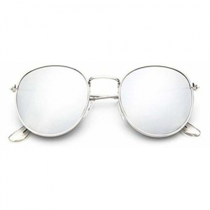 Sheomy Round Mirrored Unisex Sunglasses (Silver)