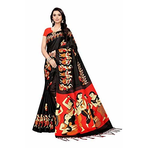 Buy Gosriki Silk With Blouse Piece Saree Marathi Dandiya Black Free Size Online Looksgud In