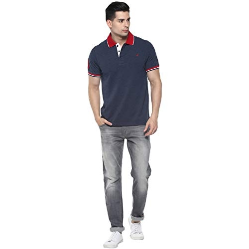AMERICAN CREW Navy Blue Cotton Solid Regular Fit Polo T-Shirt