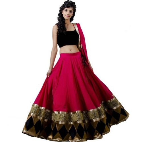 Zingat Fashion Embroidered Semi Stitched Lehenga, Choli and Dupatta Set(Pink)