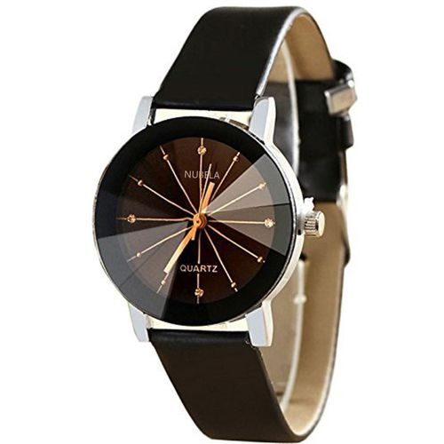 NUBELA Black Color Diamond Cut Glass Leather belt Analog Watch - For Women