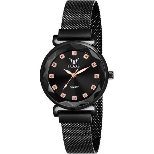 Fogg 4069-BK New Black Platted Analog Watch - For Women