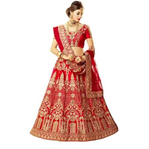 Aayan Export Embroidered Semi Stitched Lehenga, Choli and Dupatta Set(Red)